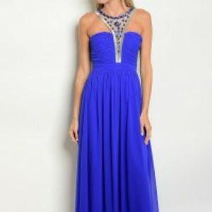 Ryal Blue Beaded Gown Dress